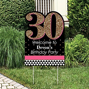 Chic 30th Birthday - Pink, Black and Gold - Party Decorations - Birthday Party Personalized Welcome Yard Sign