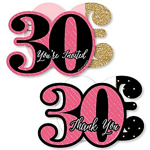 Chic 30th Birthday - Pink, Black and Gold - 20 Shaped Fill-In Invitations and 20 Shaped Thank You Cards Kit - Birthday Party Stationery Kit - 40 Pack