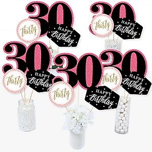 Chic 30th Birthday - Pink, Black and Gold - Birthday Party Centerpiece Sticks - Table Toppers - Set of 15