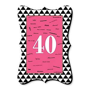 Chic 40th Birthday - Pink, Black and Gold - Unique Alternative Guest Book - 40th Birthday Party Signature Mat Gift