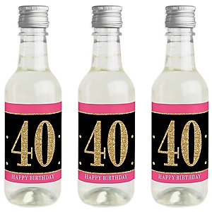 Chic 40th Birthday - Pink, Black and Gold - Mini Wine and Champagne Bottle Label Stickers - Birthday Party Favor Gift - For Women and Men - Set of 16