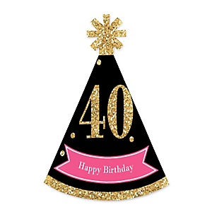 Chic 40th Birthday - Pink, Black and Gold - Personalized Mini Cone Birthday Party Hats - Small Little Party Hats - Set of 10