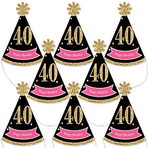Chic 40th Birthday - Pink, Black and Gold - Mini Cone Birthday Party Hats - Small Little Party Hats - Set of 8