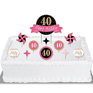 Chic 40th Birthday - Pink, Black and Gold - Birthday Party Cake Decorating Kit - Happy Birthday Cake Topper Set - 11 Pieces