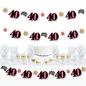 Chic 40th Birthday - Pink, Black and Gold - Birthday Party DIY Decorations - Clothespin Garland Banner - 44 Pieces