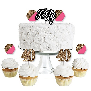 Chic 40th Birthday - Pink, Black and Gold - Dessert Cupcake Toppers - Birthday Party Clear Treat Picks - Set of 24