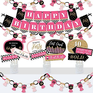 Chic 40th Birthday - Pink, Black and Gold - Banner and Photo Booth Decorations - Birthday Party Supplies Kit - Doterrific Bundle
