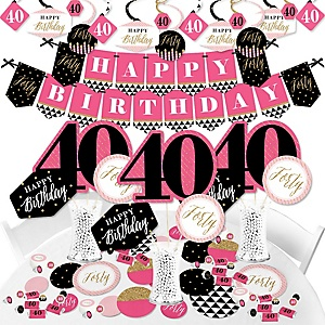 Chic 40th Birthday - Pink, Black and Gold - Birthday Party Supplies - Banner Decoration Kit - Fundle Bundle