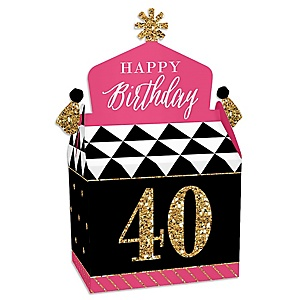 Chic 40th Birthday - Pink, Black and Gold - Treat Box Party Favors - Birthday Party Goodie Gable Boxes - Set of 12