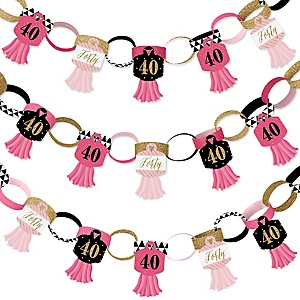Chic 40th Birthday - Pink, Black and Gold - 90 Chain Links and 30 Paper Tassels Decoration Kit - Birthday Party Paper Chains Garland - 21 feet