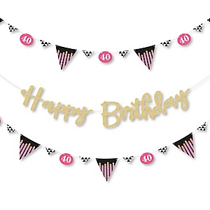 Chic 40th Birthday - Pink, Black and Gold - Birthday Party Letter Banner Decoration - 36 Banner Cutouts and No-Mess Real Gold Glitter Happy Birthday Banner Letters
