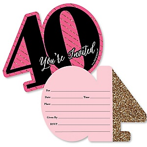 Chic 40th Birthday - Pink, Black and Gold - Shaped Fill-In Invitations - Birthday Party Invitation Cards with Envelopes - Set of 12