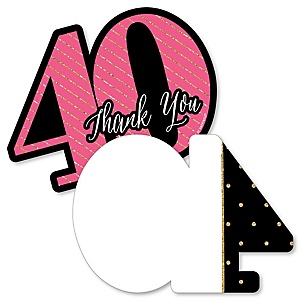 Chic 40th Birthday - Pink, Black and Gold - Shaped Thank You Cards - Birthday Party Thank You Note Cards with Envelopes - Set of 12