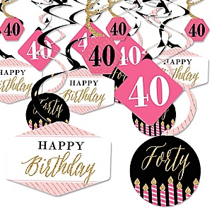 Chic 40th Birthday - Pink, Black and Gold - Birthday Party Hanging Decor - Party Decoration Swirls - Set of 40