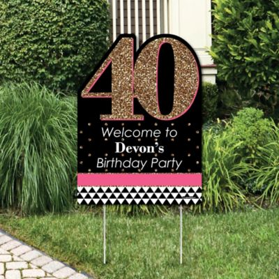 Chic 40th Birthday Pink Black and Gold Party Decorations