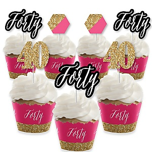 Chic 40th Birthday - Pink, Black and Gold - Cupcake Decorations - Birthday Party Cupcake Wrappers and Treat Picks Kit - Set of 24