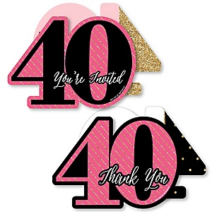 Chic 40th Birthday - Pink, Black and Gold - 20 Shaped Fill-In Invitations and 20 Shaped Thank You Cards Kit - Birthday Party Stationery Kit - 40 Pack