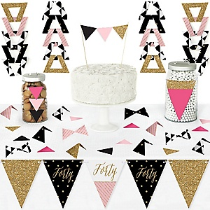 Chic 40th Birthday - Pink, Black and Gold - DIY Pennant Banner Decorations - Birthday Party Triangle Kit - 99 Pieces