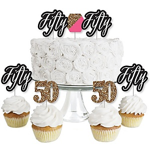 Chic 50th Birthday - Pink, Black and Gold - Dessert Cupcake Toppers - Birthday Party Clear Treat Picks - Set of 24