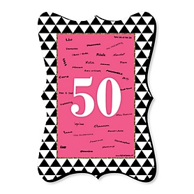 Chic 50th Birthday - Pink, Black and Gold - Unique Alternative Guest Book - 50th Birthday Party Signature Mat Gift