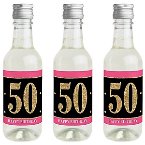 Chic 50th Birthday - Pink, Black and Gold - Mini Wine and Champagne Bottle Label Stickers - Birthday Party Favor Gift - For Women and Men - Set of 16