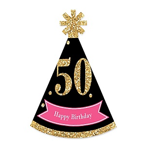 Chic 50th Birthday - Pink, Black and Gold - Personalized Mini Cone Birthday Party Hats - Small Little Party Hats - Set of 10