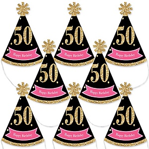 Chic 50th Birthday - Pink, Black and Gold - Mini Cone Birthday Party Hats - Small Little Party Hats - Set of 8
