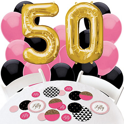 chic 50th birthday pink black and gold confetti and balloon birthday party decorations combo kit