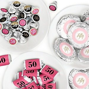 Chic 50th Birthday - Pink, Black and Gold - Mini Candy Bar Wrappers, Round Candy Stickers and Circle Stickers - Birthday Party Candy Favor Sticker Kit - 304 Pieces