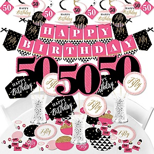 Chic 50th Birthday - Pink, Black and Gold - Birthday Party Supplies - Banner Decoration Kit - Fundle Bundle