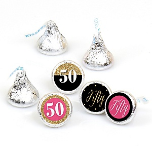Chic 50th Birthday - Pink, Black and Gold - Round Candy Labels Birthday Party Favors - Fits Hershey's Kisses - 108 ct