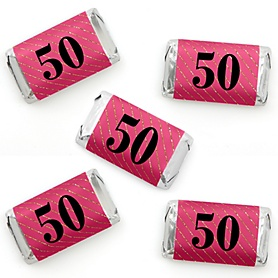 Chic 50th Birthday - Pink, Black and Gold - Mini Candy Bar Wrapper Stickers - Birthday Party Small Favors - 40 Count