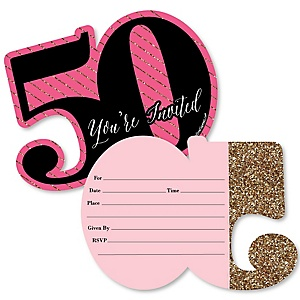 chic pink black and gold 50th birthday birthday party theme