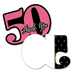 Chic 50th Birthday - Pink, Black and Gold - Shaped Thank You Cards - Birthday Party Thank You Note Cards with Envelopes - Set of 12