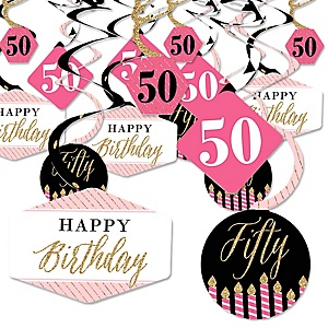 Chic 50th Birthday - Pink, Black and Gold - Birthday Party Hanging Decor - Party Decoration Swirls - Set of 40
