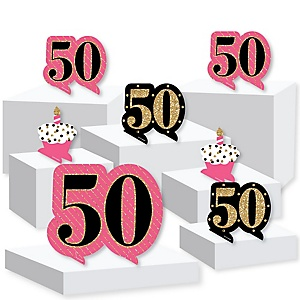 Chic 50th Birthday - Pink, Black and Gold - Birthday Party Centerpiece and Buffet Table Decor - Tabletop Standups - Set of 7