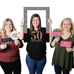 Chic 50th Birthday - Pink, Black and Gold - Personalized Birthday Party Selfie Photo Booth Picture Frame & Props - Printed on Sturdy Material