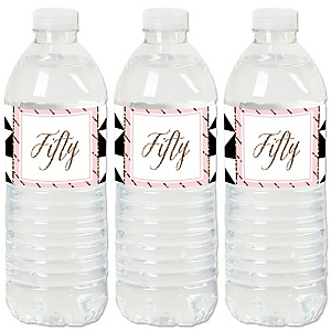 Chic Pink, Black and Gold - 50th Birthday - Birthday Party Water Bottle Sticker Labels - Set of 20