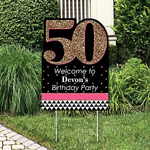Chic 50th Birthday - Pink, Black and Gold - Party Decorations - Birthday Party Personalized Welcome Yard Sign