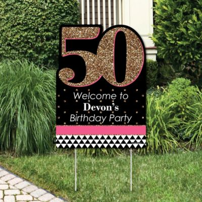 chic 50th birthday pink black and gold party decorations birthday party welcome yard sign