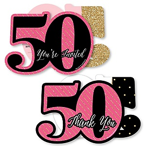 Chic 50th Birthday - Pink, Black and Gold - 20 Shaped Fill-In Invitations and 20 Shaped Thank You Cards Kit - Birthday Party Stationery Kit - 40 Pack