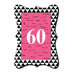 Chic 60th Birthday - Pink, Black and Gold - Unique Alternative Guest Book - 60th Birthday Party Signature Mat Gift