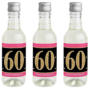 Chic 60th Birthday - Pink, Black and Gold - Mini Wine and Champagne Bottle Label Stickers - Birthday Party Favor Gift - For Women and Men - Set of 16