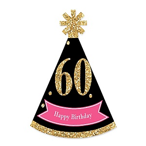 Chic 60th Birthday - Pink, Black and Gold - Personalized Mini Cone Birthday Party Hats - Small Little Party Hats - Set of 10