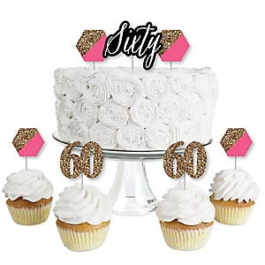 Chic 60th Birthday - Pink, Black and Gold - Dessert Cupcake Toppers - Birthday Party Clear Treat Picks - Set of 24