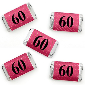 Chic 60th Birthday - Pink, Black and Gold - Mini Candy Bar Wrapper Stickers - Birthday Party Small Favors - 40 Count