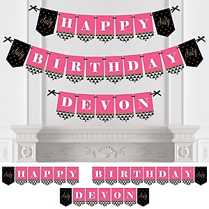 Chic 60th Birthday - Pink, Black and Gold - Personalized Birthday Party Bunting Banner & Decorations