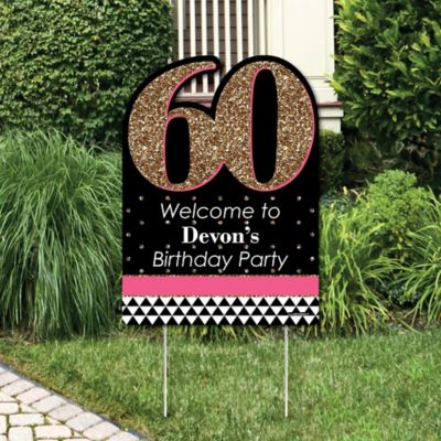 Chic 60th Birthday - Pink Black and Gold - Party Decorations - Birthday Party Personalized Welcome Yard Sign & Chic Pink Black and Gold - 60th Birthday - Birthday Party Theme ...