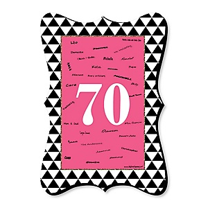 Chic 70th Birthday - Pink, Black and Gold - Unique Alternative Guest Book - 70th Birthday Party Signature Mat Gift