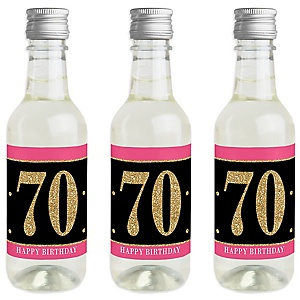 Chic 70th Birthday - Pink, Black and Gold - Mini Wine and Champagne Bottle Label Stickers - Birthday Party Favor Gift - For Women and Men - Set of 16